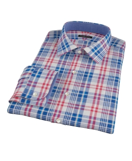 Red White Blue Madras Fitted Dress Shirt