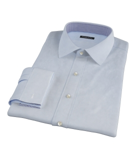 Thomas Mason Light Blue Mini Houndstooth Fitted Shirt