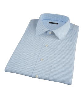 Canclini Light Blue Mini Gingham Short Sleeve Shirt