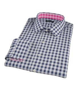 Navy Blue Large Gingham Fitted Dress Shirt