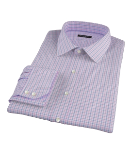 Thomas Mason Pink End on End Check Fitted Dress Shirt