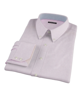 Pink Cotton Linen Stripe Fitted Dress Shirt
