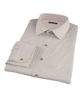 Tan Cotton Linen Gingham Dress Shirt