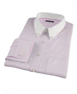 Pink Cotton Linen Stripe Tailor Made Shirt