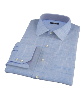 Brisbane Dark Blue Slub Fitted Dress Shirt