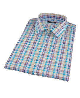 Aqua Brown Cotton Linen Check Short Sleeve Shirt