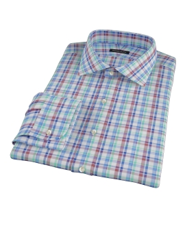 Green Brown Cotton Linen Check Fitted Dress Shirt