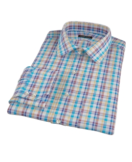 Aqua Brown Cotton Linen Check Fitted Shirt