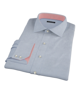 Light Blue Wrinkle Resistant Rich Herringbone Fitted Dress Shirt