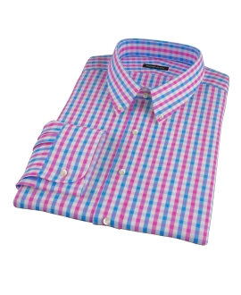 Pink and Blue Gingham Custom Dress Shirt