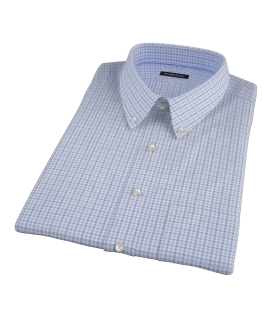 Thomas Mason Blue End on End Check Short Sleeve Shirt