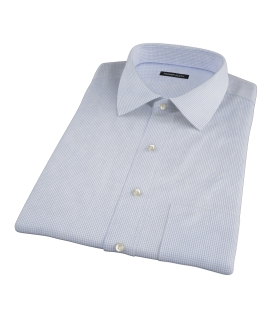 Thomas Mason Blue Small Grid Short Sleeve Shirt