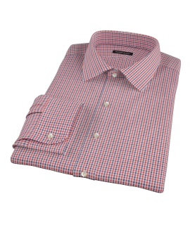 Canclini Red and Navy Gingham Fitted Dress Shirt