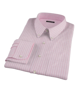 Canclini Red Cotton Linen Stripe Dress Shirt