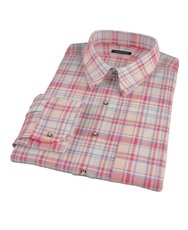 Red and Blue Organic Madras Fitted Shirt