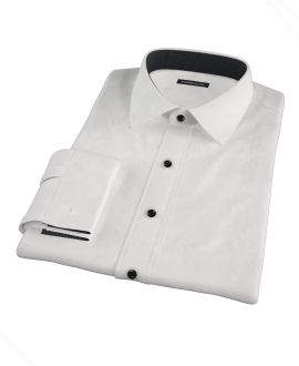 White Wrinkle Resistant 80s Broadcloth Custom Dress Shirt