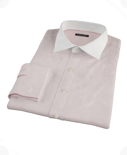 Pink End-on-End Fitted Dress Shirt