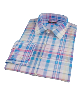 Pink Blue Red Madras Men's Dress Shirt