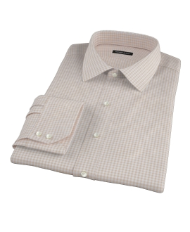 Tan Cotton Linen Gingham Men's Dress Shirt