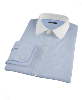 Blue Fine Twill Custom Dress Shirt