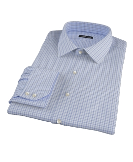 Thomas Mason Blue End on End Check Custom Dress Shirt