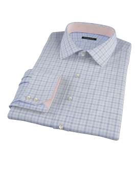 Thomas Mason Blue and Light Blue Grid Men's Dress Shirt