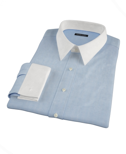 Light Blue Herringbone Custom Dress Shirt