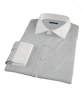Light Gray Herringbone Custom Dress Shirt