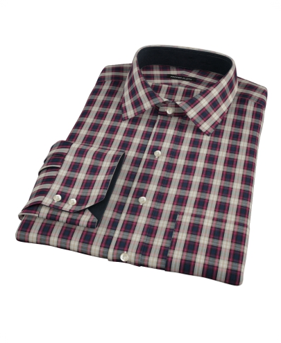 Mulberry Gold Plaid Men's Dress Shirt