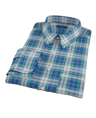 Blue Green Reversible Plaid Men's Dress Shirt 