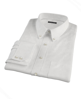 Thomas Mason White Fine Twill Fitted Dress Shirt
