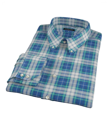 Blue Green Reversible Plaid Fitted Dress Shirt