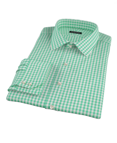 Canclini Light Green Gingham Custom Dress Shirt
