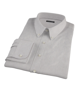 Clove Brown End-on-End Stripe Fitted Dress Shirt 
