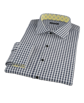 Dark Navy Gingham Fitted Dress Shirt 