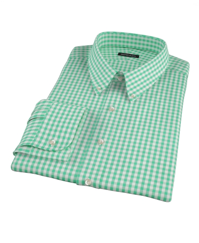 Light Green Gingham Men's Dress Shirt