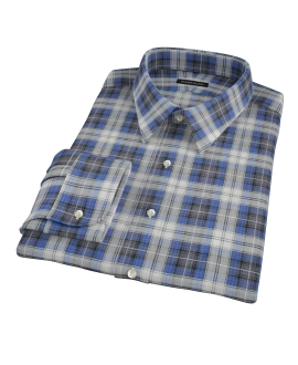 Blue and Charcoal Large Plaid Custom Dress Shirt
