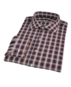 Mulberry Gold Plaid Fitted Dress Shirt