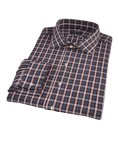 Mandarin Ocean Plaid Men's Dress Shirt