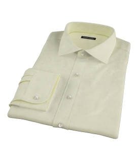 Yellow End-on-End Stripe Fitted Dress Shirt 