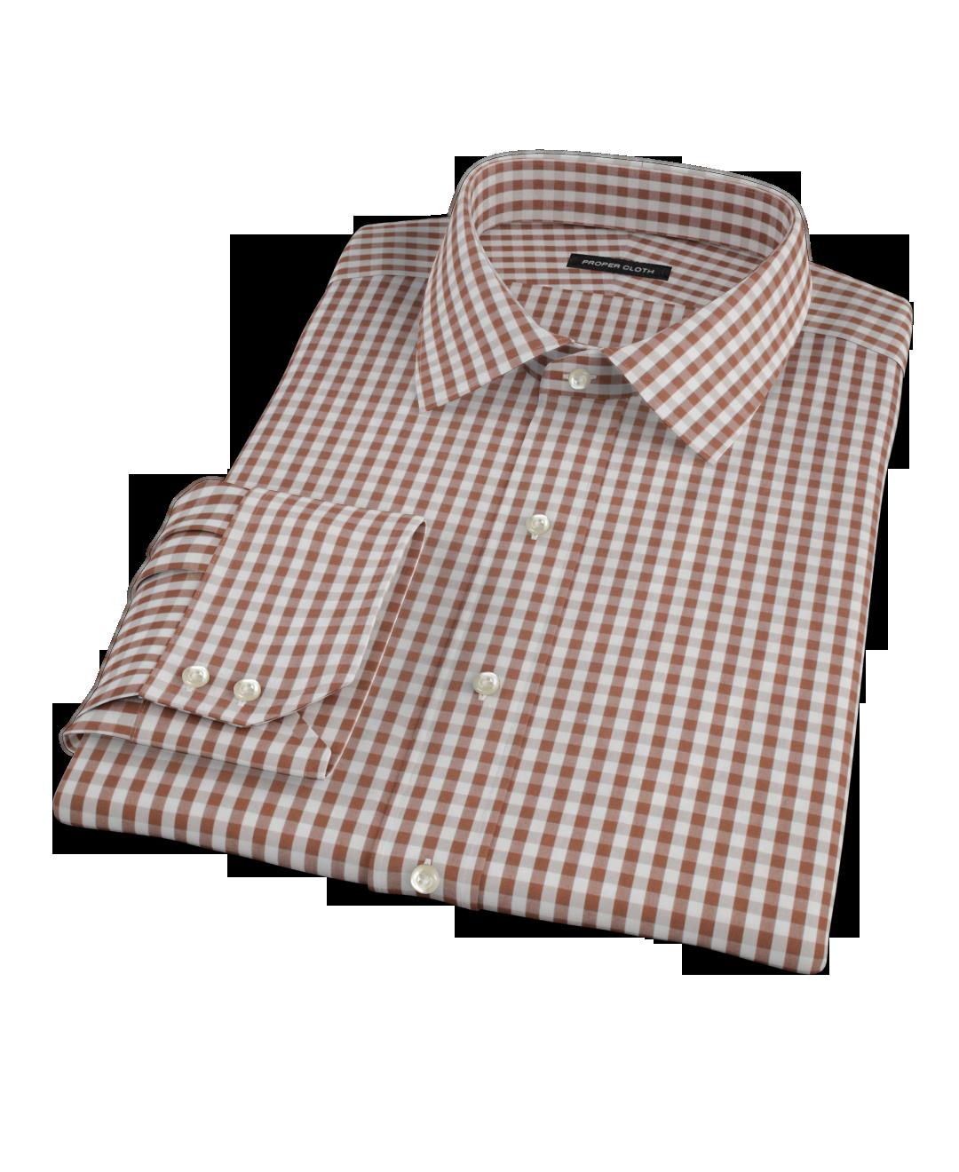 Clove brown gingham men 39 s dress shirt by proper cloth for Mens gingham dress shirt