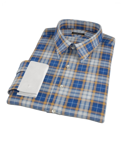 Blue and Orange Large Plaid Fitted Dress Shirt