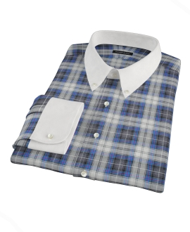 Blue and Charcoal Large Plaid Men's Dress Shirt