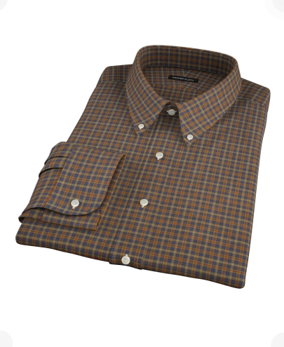 Brown Tartan Men's Dress Shirt