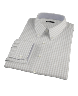 Pale Gray Gingham Custom Dress Shirt 