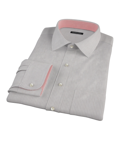 Clove Brown End-on-End Stripe Men's Dress Shirt