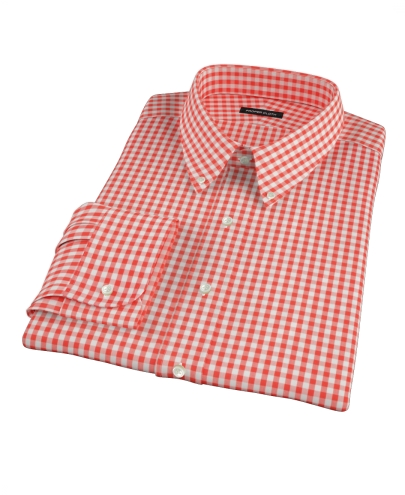Red Gingham Fitted Dress Shirt 