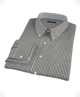 Small Black Gingham Fitted Dress Shirt