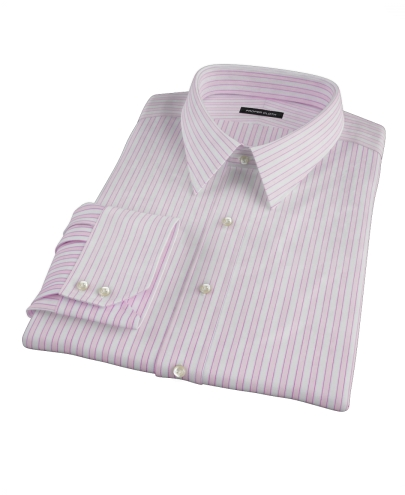 Madison Wrinkle-Resistant Pink Wide Stripe Men's Dress Shirt 