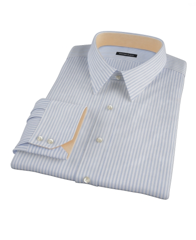 Greenwich Light Blue Bordered Stripe Men's Dress Shirt